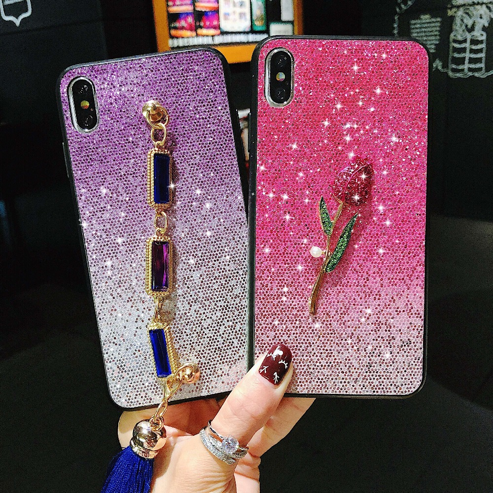 Us 4 49 10 Off Luxury Glitter Rhinestone Bee Flower Diy Cell Phone Cases For Iphone Xs Xr Xs Max 6 7 8 Plus X Hard Pc Phone Covers In Half Wrapped