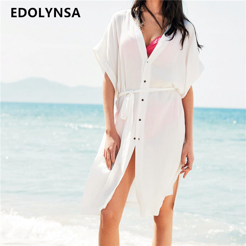 Summer Beach Dress Belted Tunic Cotton White Knee Length Botton Front  Beachwear Casual Mid Dress With efd6510e41ba
