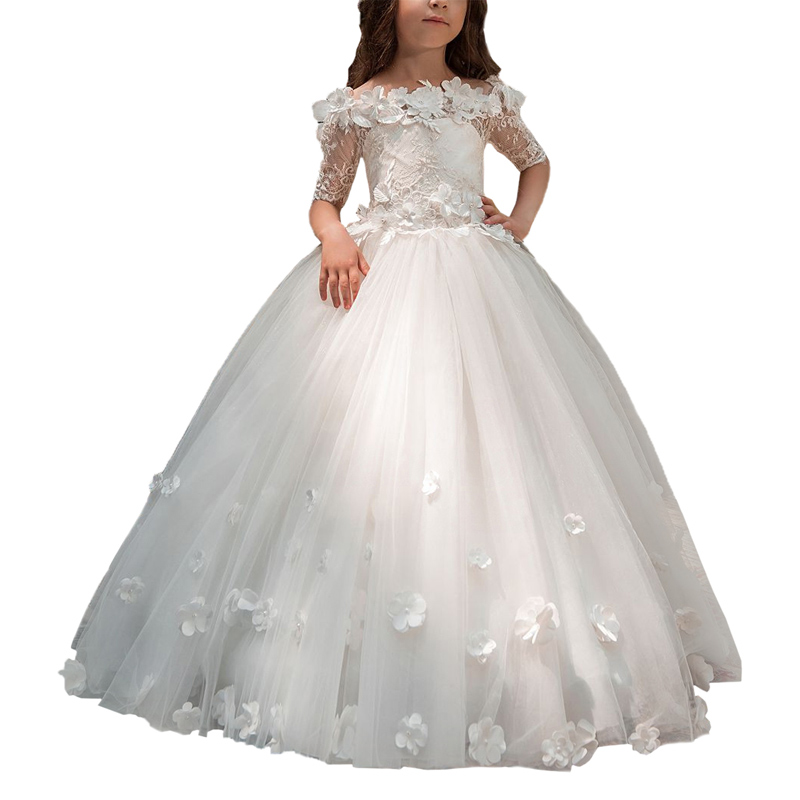 Abaoépouser première communion robes pour filles demi manches tull robes de bal pour enfants longue dentelle fleur fille