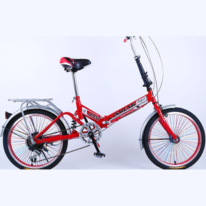Folding Bicycle High-Quality High-Carbon Steel Frame Shock Absorption of 20-Inch Single Speed Drive
