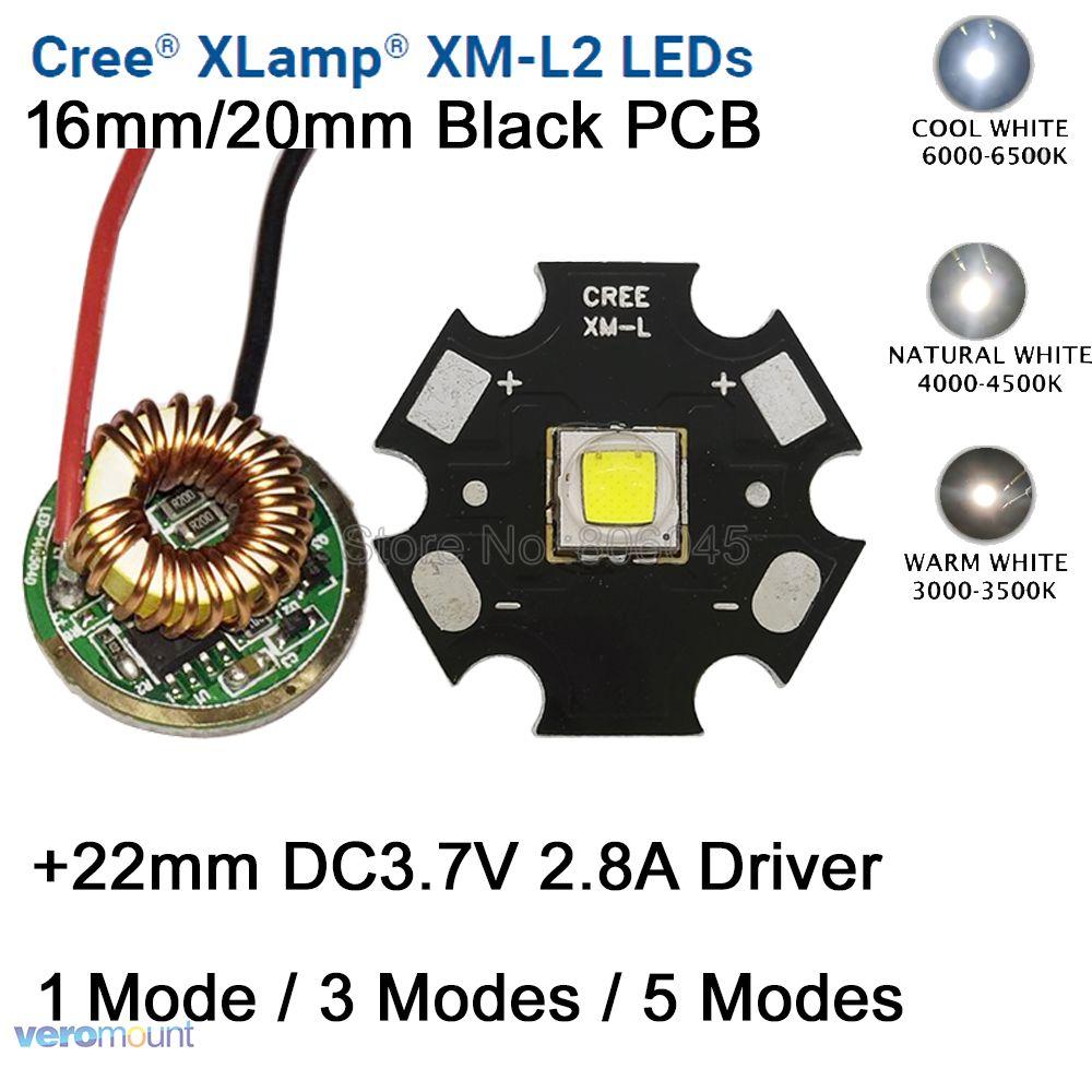 Cree XM-L2 T6 10 watt Cool White Neutral White Warm Weiß LED Emitter 16mm/20mm PCB + 22mm DC3.7V 2.8A 1 Modus/3 Modus/5 Modus Fahrer