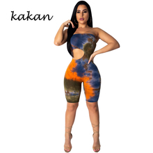 Kakan summer new womens print one-piece tights word collar backless Slim casual bodysuit tube top openwork jumpsuit