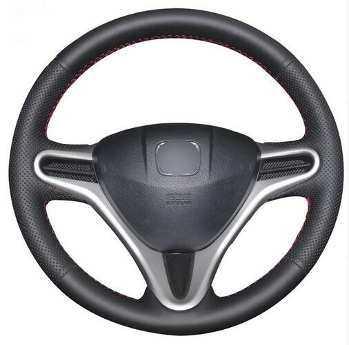 Black Artificial Leather Car Steering Wheel Cover for Honda Fit 2009-2013 City Jazz