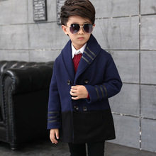 child kids outerwear wool coat winter clothing children's 2016 fashion long design thick Fashion Jackets to 4-12 year-old boy