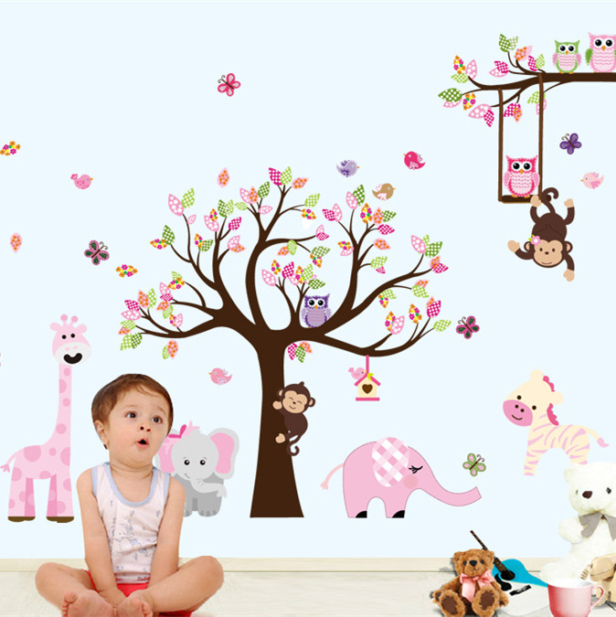 Pink and Blue Owls On Tree Kids Nursery Bedroom Wall Stickers Art Decal UK Stock