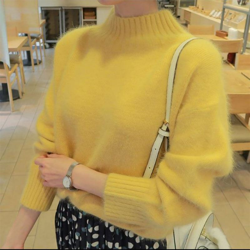 2020 Autumn Winter Women Turtleneck Mohair Sweater 20% Soft Wool Hand Oversized Knit  Thick Pullovers in 4 Colors
