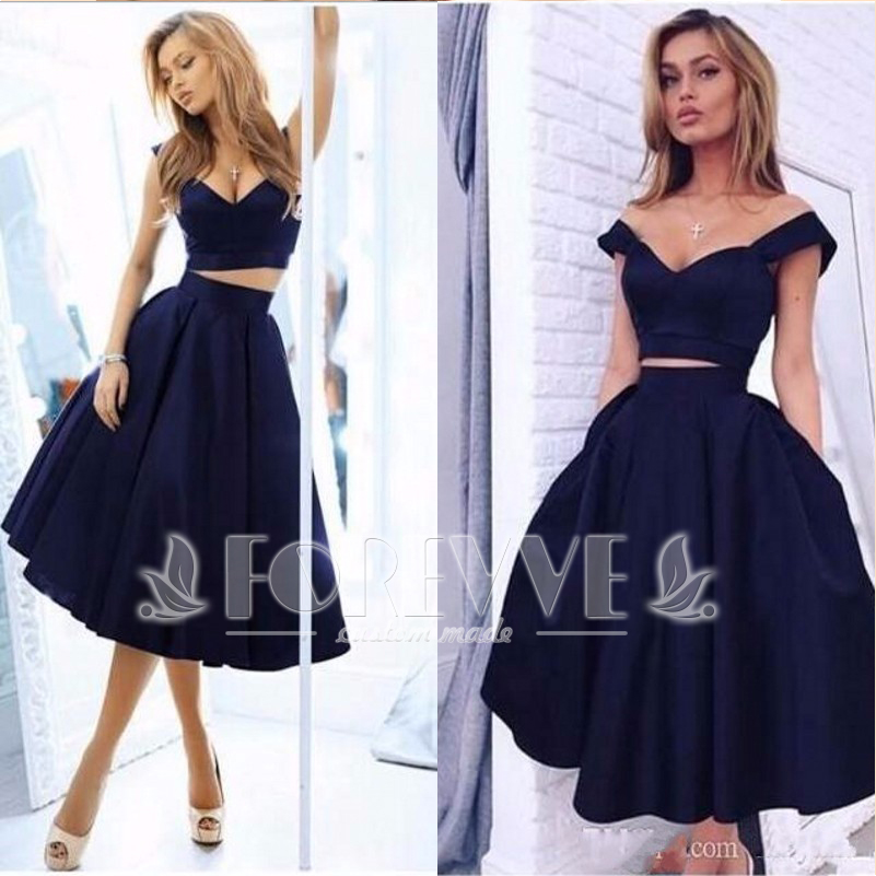 Fashion Navy Blue Satin   Prom     Dress   2019 Cap Sleeve Formal Homecoming   Dresses   Party Gowns Vestidos De Fiesta Curto Abiye Kaftan