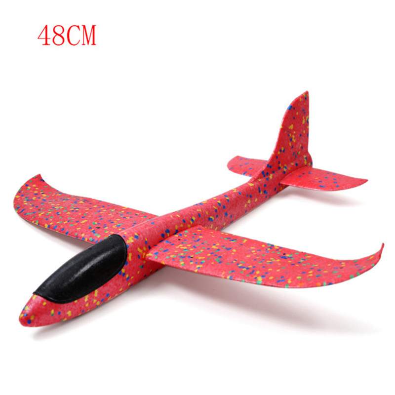 Kids Airplane Glider 48CM Foam Plane Hand Throw Flying Glider Aeroplane Colorful Airplane Outdoor Sports Foam Fun Toys TY0373