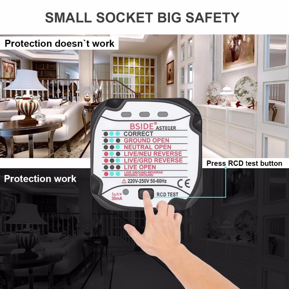 BSIDE AST01 RCD Socket Tester detector de Teste DA UE EUA REINO UNIDO AU Plug Tomada GFCI Ground Zero Linha Plug Fase Polaridade verifique