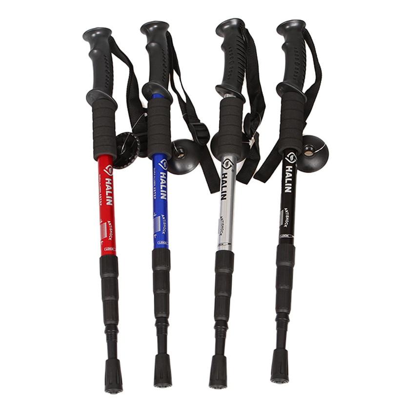 Fishsunday Schock Wandern Wandern Trekking Trail Pole Stick Canes geantwortet 4-SectionsTo die taille verletzungen Juli 10