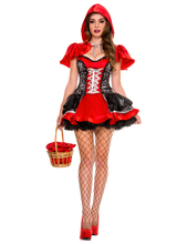 Holloween Sexy Womens Fairy Tale Little Red Riding Hood Costume For Halloween Cosplay Uniforms M-XL