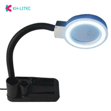 купить EU Plug 220V Crafts Glass Lens LED Desk Magnifier Lamp Light 5X 10X Magnifying Desktop Loupe Repairing Tools with 40 LEDs Stand дешево