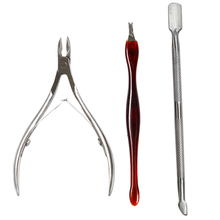 3Pcs/Lot Stainless Steel Nail Scissor Art Cuticle Pusher Nipper Remover Clipper Manicure Pedicure Tools NC385
