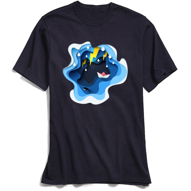 3D Paper Art Tops Men TShirt Family Round Neck Europe Short Sleeve 100 Cotton Fabric Mens T Shirt Summer T shirts Blue Tees in T Shirts from Men 39 s Clothing