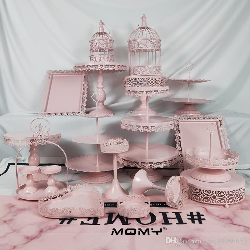 19 piezas de Metal rosa de hierro cupcakes estante de exhibición Resuable postre pastel soporte para boda cumpleaños fiesta decoración soporte-in Soportes from Hogar y Mascotas    1