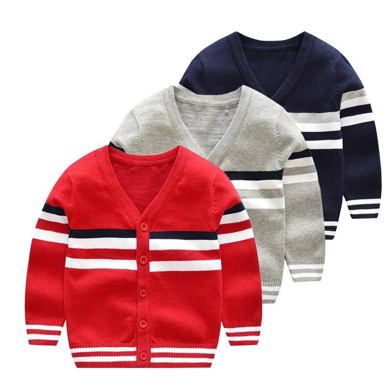 Кардиган в английском стиле для маленьких мальчиков, свитер, Новинка осени 2019, детская одежда, трикотажное пальто в полоску с v-образным выре...