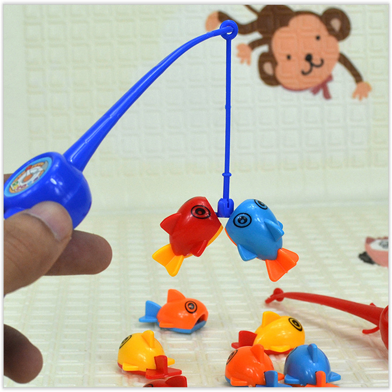Children Fishing Toys 1 Fishing Rod 8 Pcs Fish Outdoor Fun Toys Fishing Sets Bath Toy Baby Toys Bathroom Play Water Gift For Kid