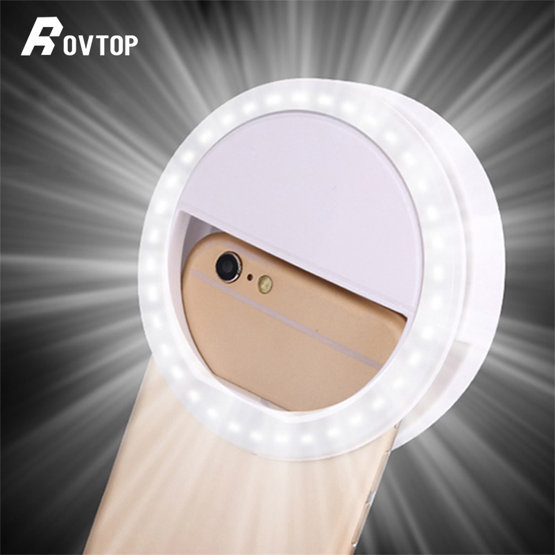 Rovtop Universal Selfie LED Ring Flash Light Portable Mobile Phone 36 LEDS Selfie Lamp Luminous Ring Clip For IPhone 6 8 7 Plus(China)
