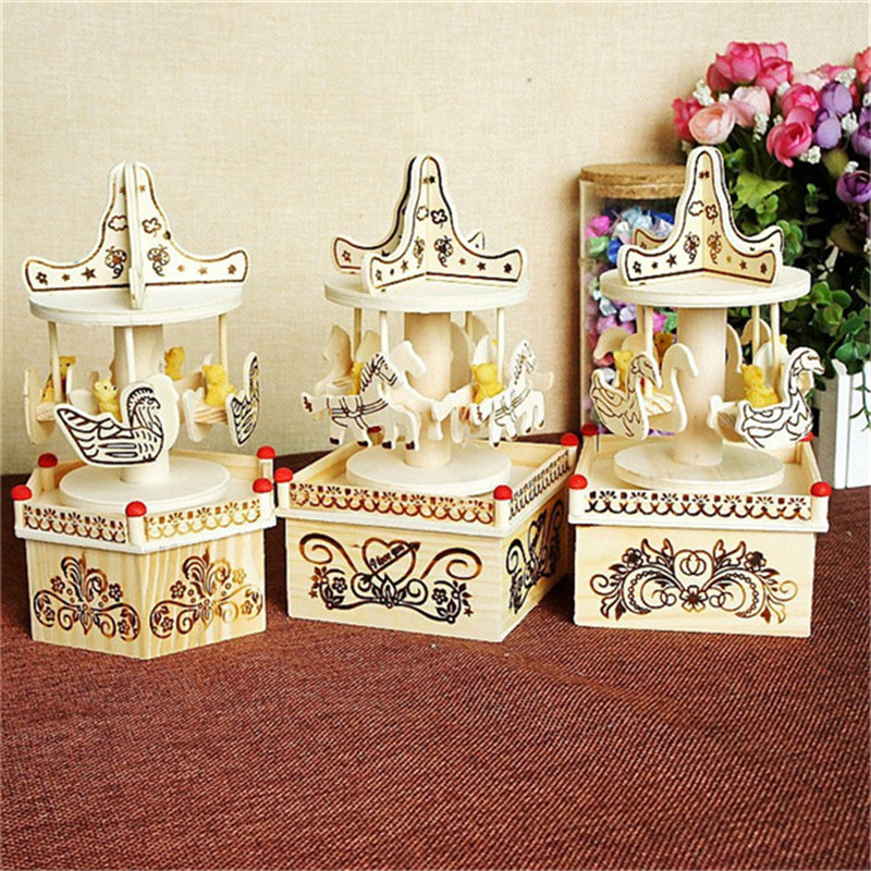 2017 DIY Merry Go Round Carousel Music Box 3* Patterns Wooden Horse Crafts For Kids Birthday ...