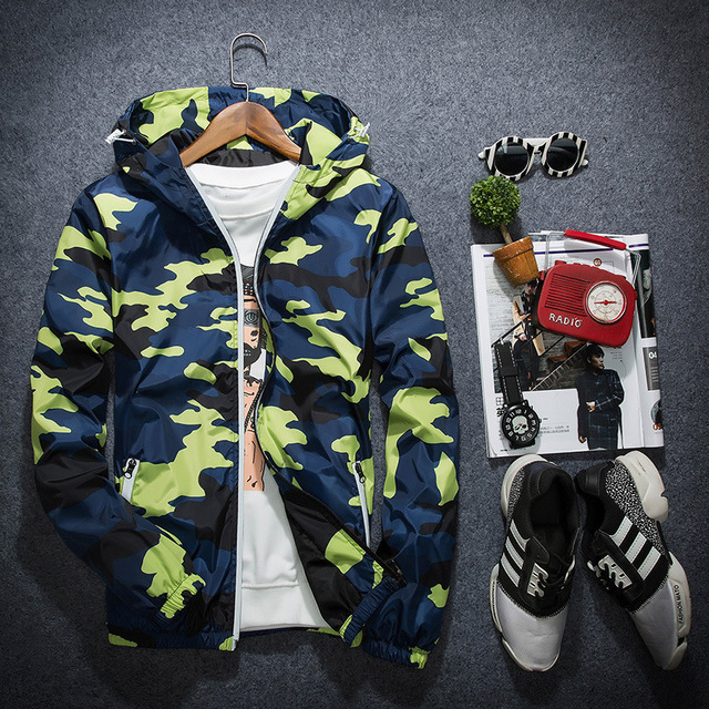 Men Bomber Jacket Thin Slim Spring Camouflage Military Jackets Hooded 2017 Korean Style Army Brand Clothing Red Grey Blue Yellow