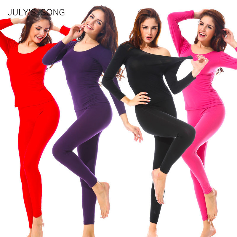 JULY'S SONG Female Autumn Thermal Long Underwears 2 Piece/Set  Women Body Shaped Slim Ladies Intimate Female Pajamas Warm Modal