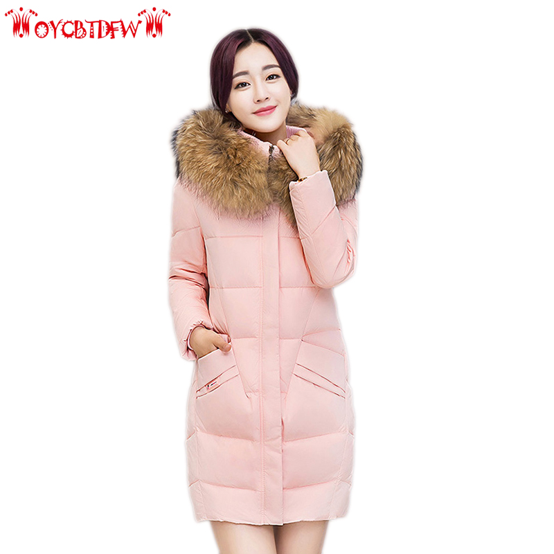 Winter women down jacket 2018 fashion new solid color Large size medium long hooded fur collar warm female down jacket ll828