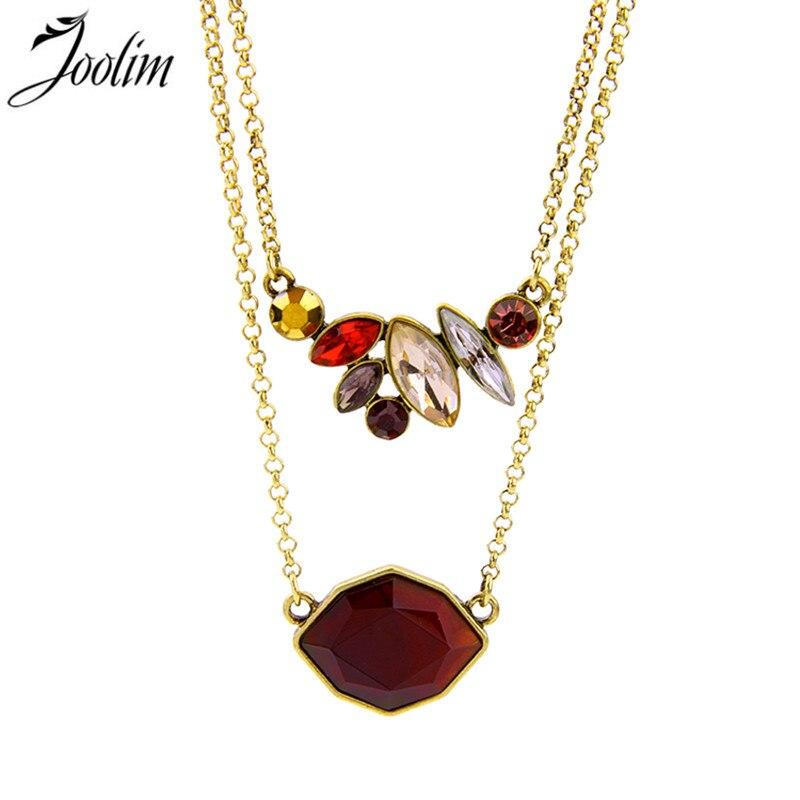 JOOLIM Vintage pendentif collier Bouquet Rouge Double pendentif breloque collier bijoux Design bijoux