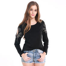 2017 New Design O Neck Long Sleeve T shirt Women Bottoming shirt Tops Tees Fashion Black Beading Hollow Out Simple Body Pullover