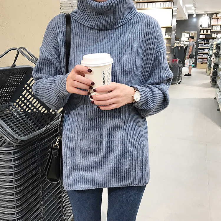 ... Korean Simple Basic Winter Knitted Sweaters Women Fashion Turtleneck  Pullover Sweater Female Casual All-match ... 71bd6af85