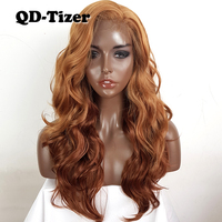 QD Tizer Blonde Hair Brown Ombre Wigs Synthetic Lace Front Wig Side Parting Heat Resistant Natural Body Wave Wigs for Black Wome