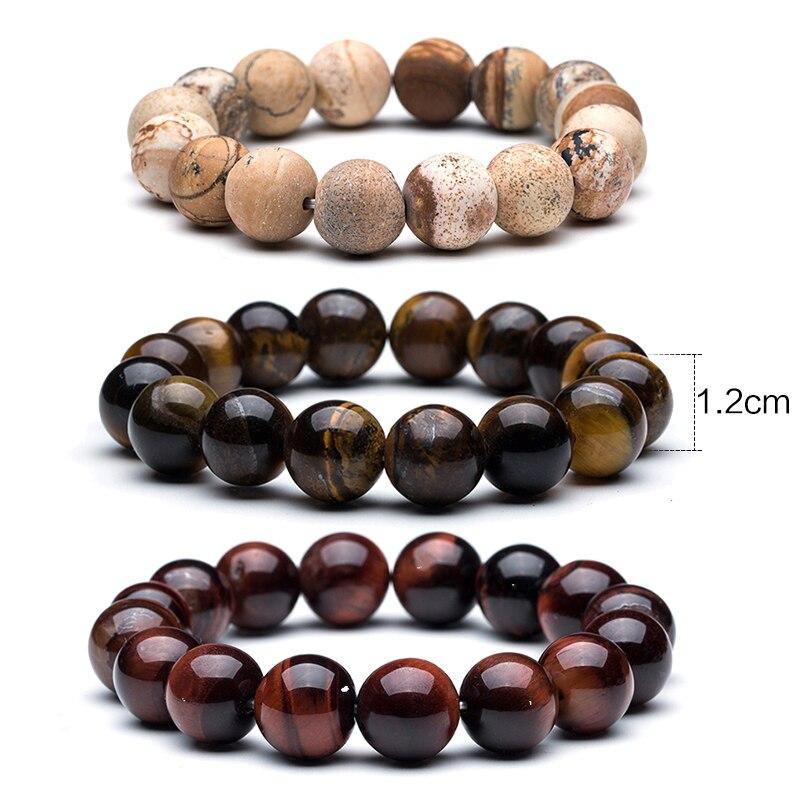 Natural Stone Beads Bracelet Charm 12mm Tiger Eye & Bangle Mew Lava Natural Stone Bracelet for men Beads men's bracelets