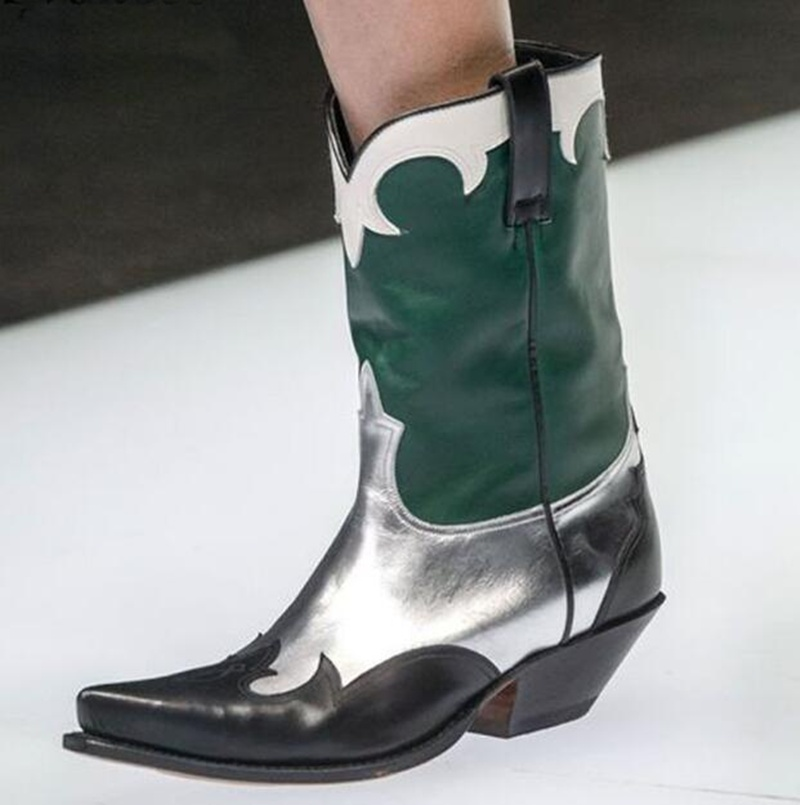2019 Vintage Green-Silver Mid-Half Boots Fashion Carving Pointed Toe Genuine Leather Cowboy Boot Chunky Heels Female Stage Shoes2019 Vintage Green-Silver Mid-Half Boots Fashion Carving Pointed Toe Genuine Leather Cowboy Boot Chunky Heels Female Stage Shoes