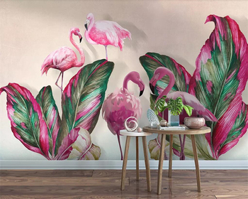 Beibehang Wall paper home decor living room bedroom mural tropical plant banana leaf flamingo TV background wall 3d wallpaper beibehang custom mural wall paper southeast green banana leaf wallpaper bedroom living room background wall decor wallpaper roll