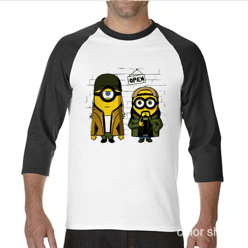 2017 Best Gift For Friend Anime Minions funny Long TShirts raglan sleeve T Shirt men