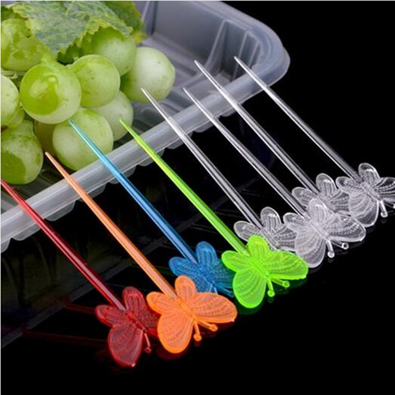 30PCS Beautiful butterfly craft fruit toothpick interesting dessert cocktail sign Fruit Fork Toothpick for Kitchen tableware
