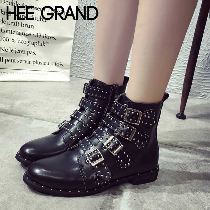 HEE GRAND Pu Leather Motorcycle Boots Zipper Winter Shoes Women Sexy Ankle Boots Metal Decoration Shoes Woman Size 35-43 XWX6908