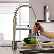 uythner modern solid brass chrome polish spring kitchen faucet mixer tap faucet single handle hole