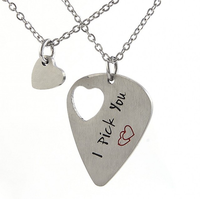 7cdfb72532 Guitar Picker Necklace His Her Gift Musician Couple Necklaces Set Cut Out  heart Stainless Steel Anniversary gift lover