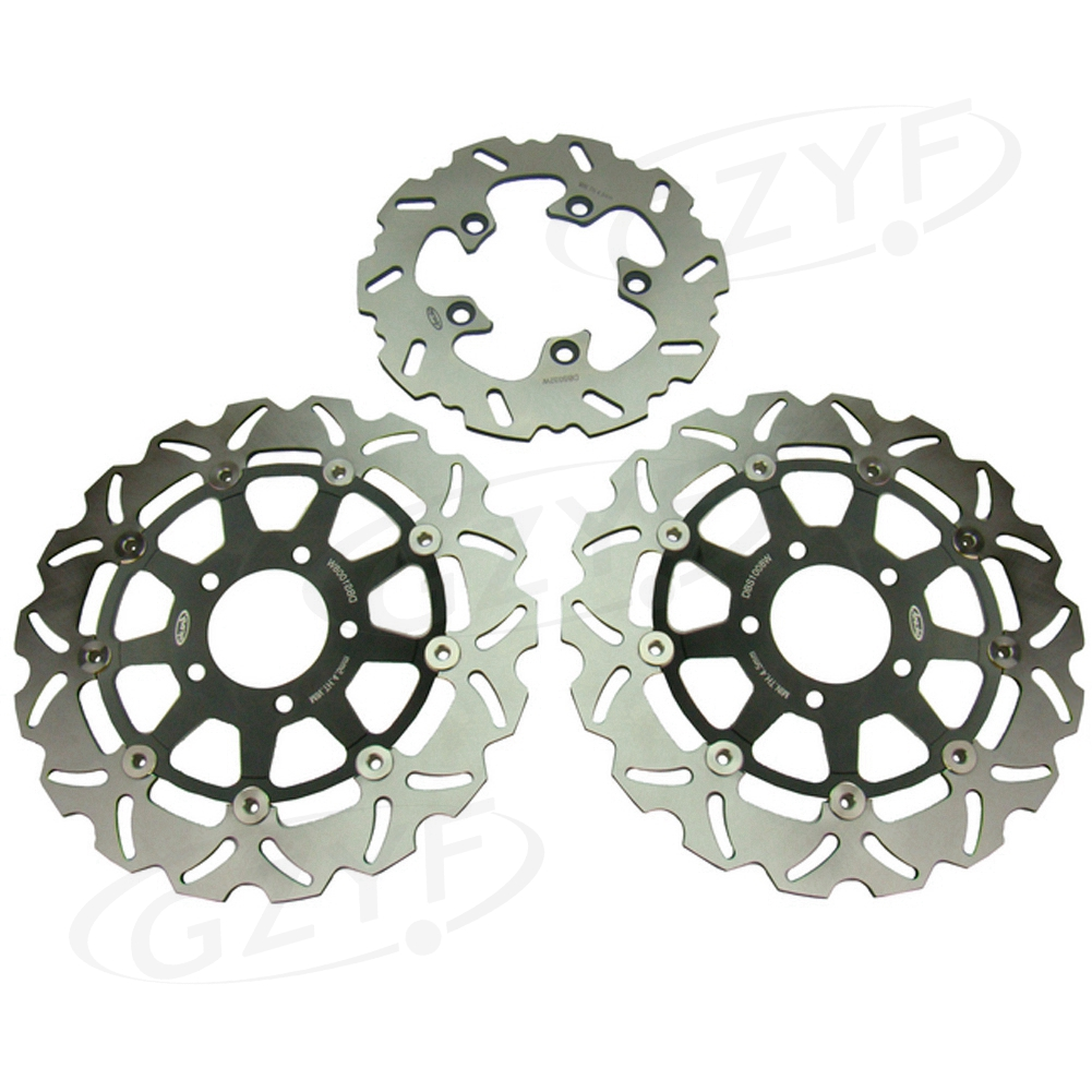 For Suzuki GSXR 600 750 GSXR600 GSXR750 K4 2004 2005 & GSXR 1000 K3 GSXR1000 2003 2004 Front Rear Brake Disc Rotors Set Floating motorcycle silver unfoldable rear brake pedal foot lever for 2006 2014 suzuki gsxr 600 750 2005 2015 suzuki gsxr 1000