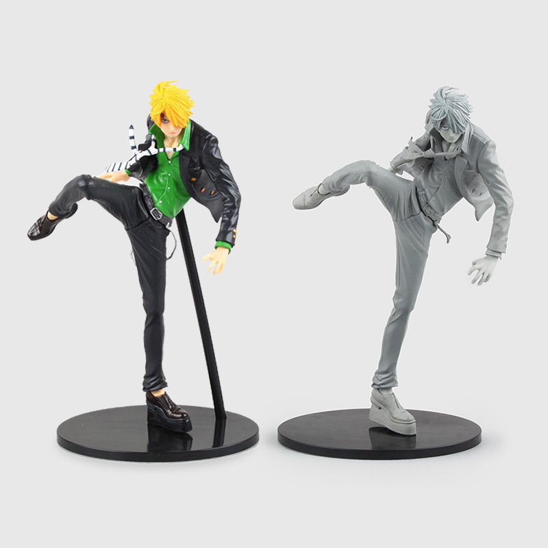 2 Sign Anime One Piece Multicolor & Gray Sanji Model Statue Action Figure Toys
