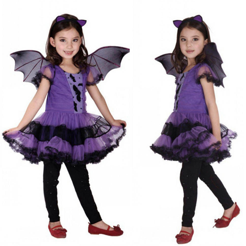 2018 Fashion for 3-15 year old Toddler Kids Baby Girl Halloween Clothes Costume Knee-Length Dress+Hair Hoop+Bat Wing Outfit p35