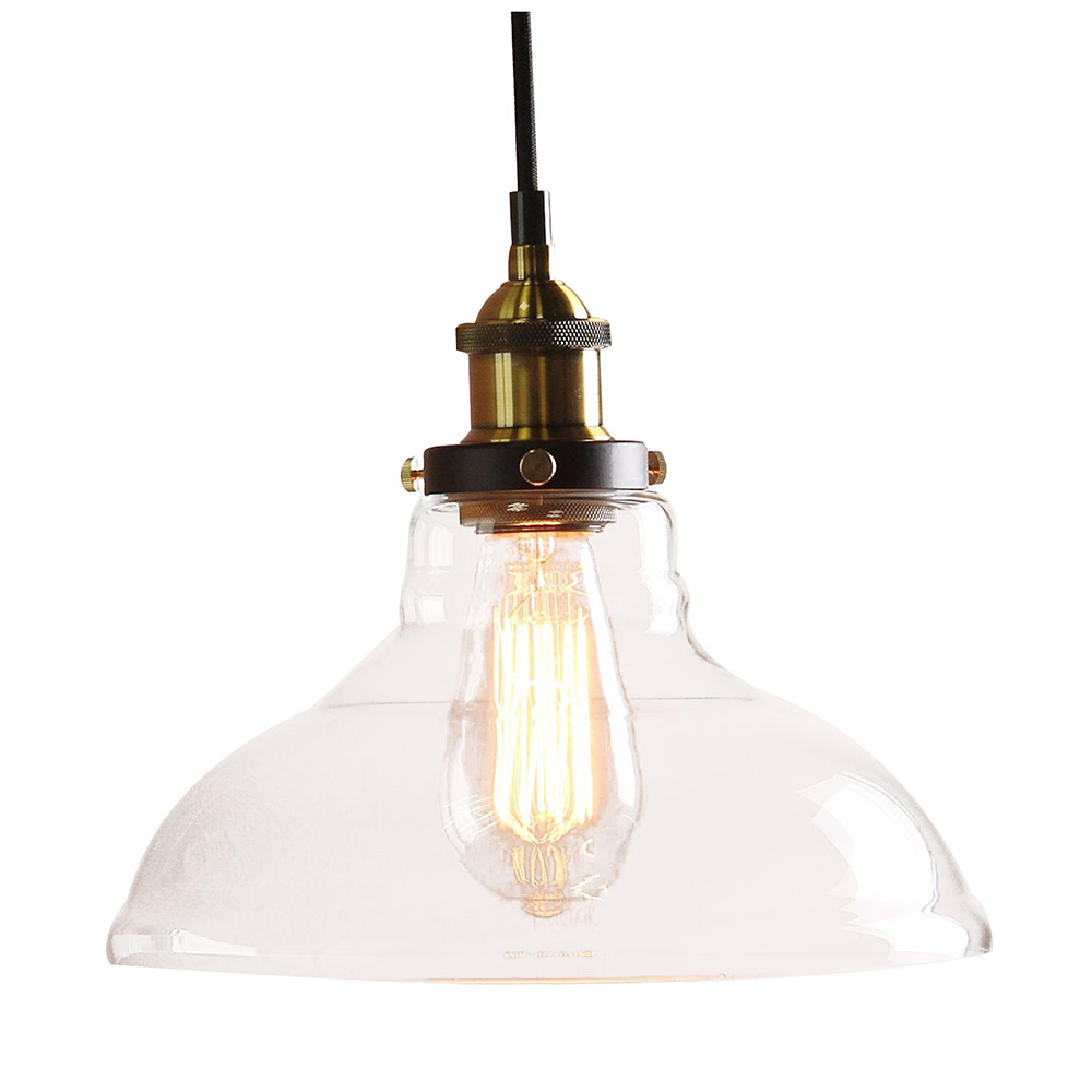 Modern Vintage Industrial Metal Bronze Glass Ceiling Lamp Shade Pendant Light