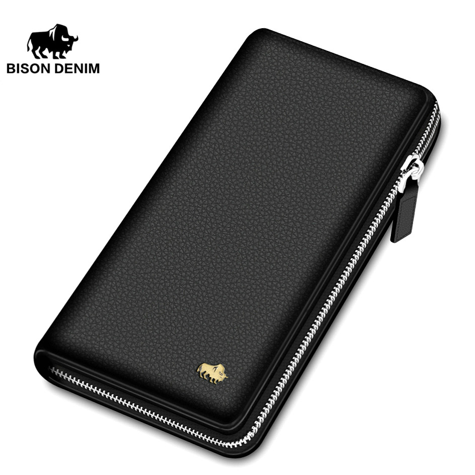 BISON DENIM Brand Genuine Leather Wallet Men Clutch Bag Leather Wallet Card Holder Coin Purse Zipper Male Long Wallets N8195 hot genuine leather men wallets long zipper coin purse 2018 luxury brand vintage male clutch cowhide leather wallet card holder