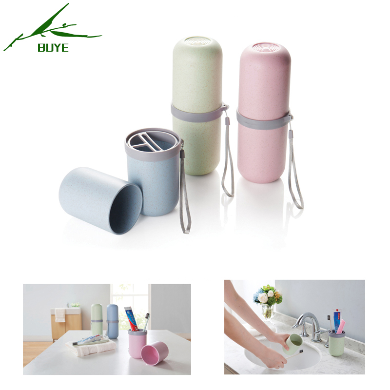 Practical Cup Travel Wheat straw Toothpaste Case Box Toothbrush Holder Storage