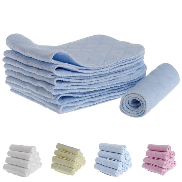 Soft 10Pcs Reusable Baby Cotton Blend Cloth Diaper Newborn Soft Nappy Insert 3 Layers Baby Bibs