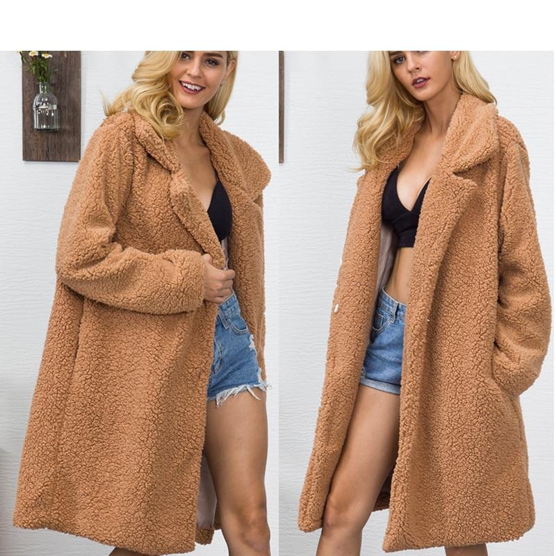 Mode streetwear femmes manteaux et vestes En Fausse Fourrure Ours en peluche plus la taille femmes vestes printemps automne à manches longues faux fourrure manteau