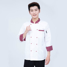 Chef Uniforms Double-breasted Short Sleeve Men Food Services Cooking Clothes 2-Color Uniform Chef Jackets
