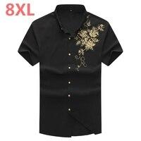 Plus Size S To 8XL 7XL 2018 Summer Style Short Sleeve Regular Fit Men Sdress Shirt
