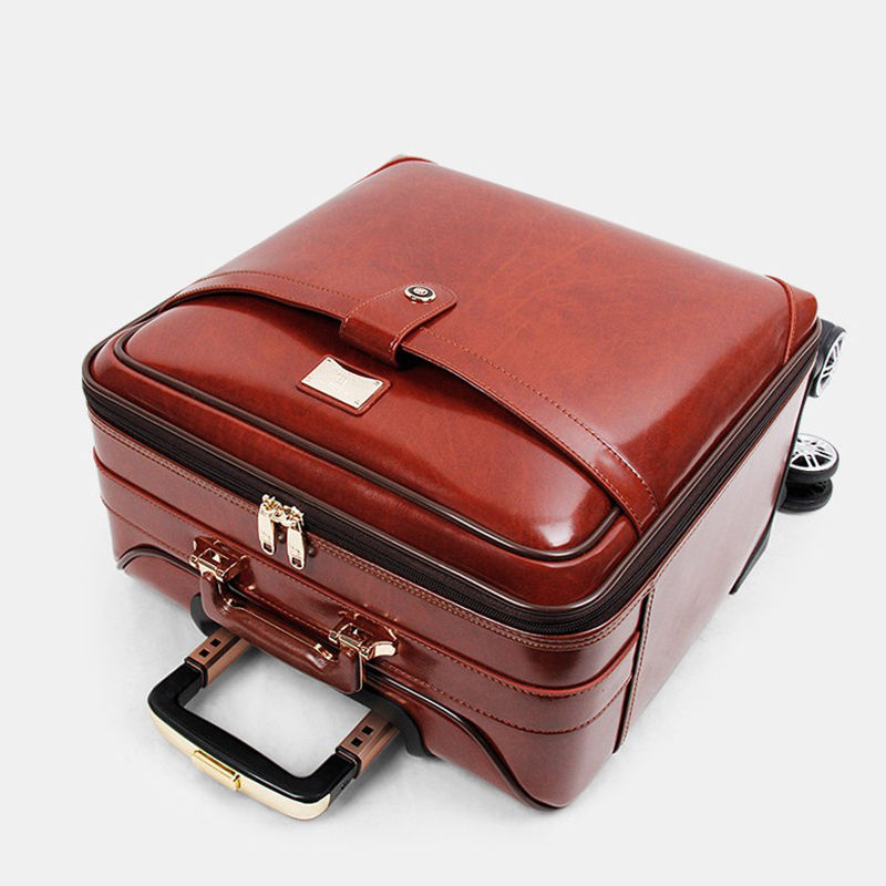"""REISE TALE 16 """"20"""" zoll männer kuh Leder trolley koffer retro kabine hand gepäck tasche auf rad-in Rollgepäck aus Gepäck & Taschen bei  Gruppe 1"""