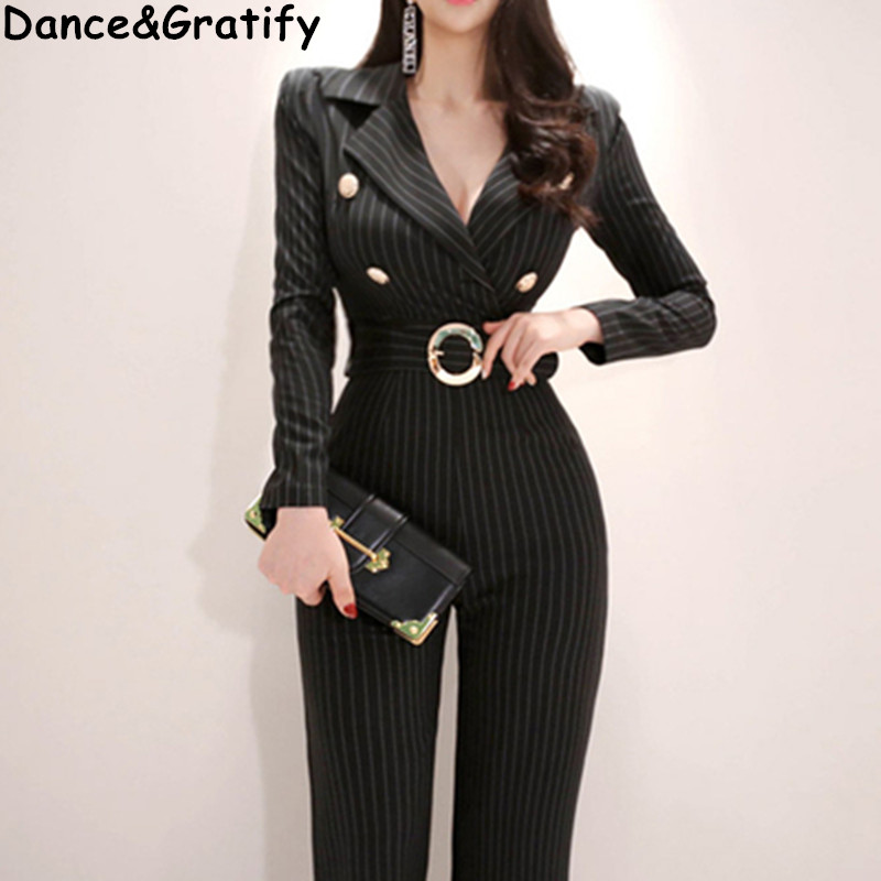 2019 New Spring Fashion Striped Office Work Jumpsuits Body Suits For Women Elegante Pantalon Wide Leg Overalls